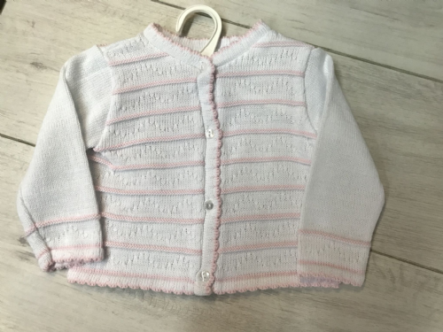 White Knit Cardigan with Pink Stripe
